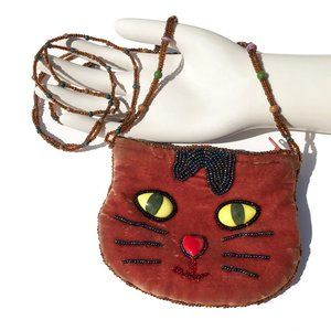 Vintage Silk Beaded Velvet Cat Pouch Purse